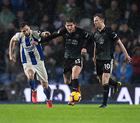 Brighton &amp; Hove Albion's Shane Duffy (left) battles with Burnley's Jeff Hendrick (right) <br /> <br /> Photographer David Horton/CameraSport<br /> <br /> The Premier League - Brighton and Hove Albion v Burnley - Saturday 9th February 2019 - The Amex Stadium - Brighton<br /> <br /> World Copyright &copy; 2019 CameraSport. All rights reserved. 43 Linden Ave. Countesthorpe. Leicester. England. LE8 5PG - Tel: +44 (0) 116 277 4147 - admin@camerasport.com - www.camerasport.com