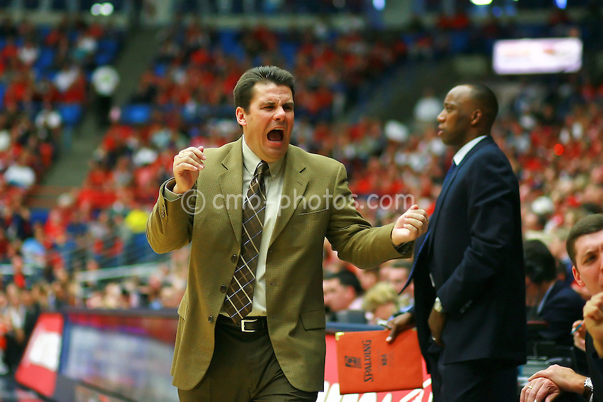 Jan 10, 2009; Tucson, AZ, USA; Arizona Wildcats interim head coach Russ Pennell yells at his bench in the second half of a game against the Oregon State Beavers at the McKale Center.  The Wildcats won the game 64-47.