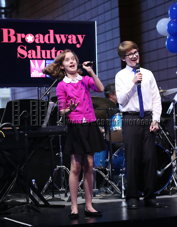 Sydney Lucas and Jake Lucas perform at the Broadway Salutes 2015 in Anita's Way on September 29, 2015 in New York City.
