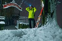 Night ski tour from Aldesago to Monte Brè (931 m), Lugano, Ticino, Switzerland, January 2015.