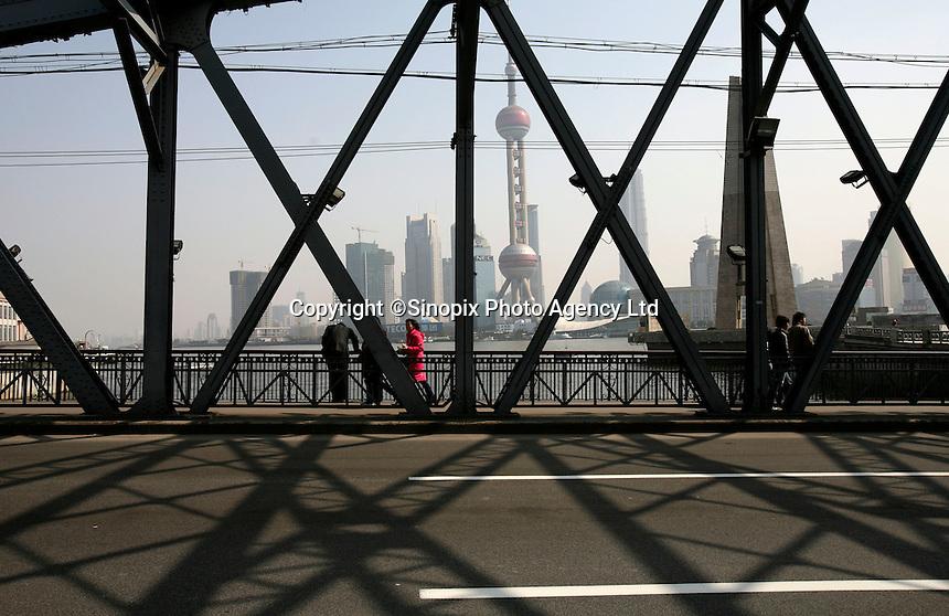 A view of Pudong through a bridge in Shanghai, China..07 Feb 2006