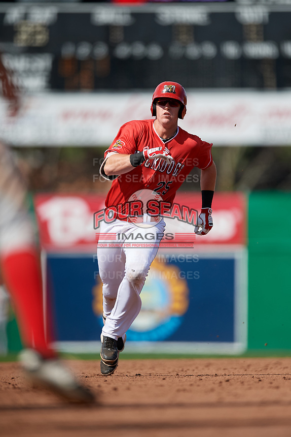 Batavia Muckdogs first baseman Sean Reynolds (25) runs the bases during a game against the Auburn Doubledays on September 2, 2018 at Dwyer Stadium in Batavia, New York.  Batavia defeated Auburn 5-4.  (Mike Janes/Four Seam Images)