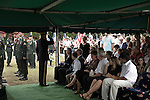 August 26, 2007. Kinston, NC.. A funeral for  Spc. Steven R. Jewell was held at the Pine Lawn Memorial Park in Kinston, NC. Spc. Jewell was killed in a helicopter crash near the Iraqi city of Fallujah on August 14, 2007.. The attending general salutes Lisa Jewell, Spc. Jewell's wife, after giving her the flag from his coffin.