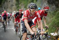 Adam Hansen (AUS/Lotto-Soudal) up the Mont&eacute;e de Bisanne (HC/1723m/12.4km/8.2%) <br /> <br /> Stage 19:  Albertville &rsaquo; Saint-Gervais /Mont Blanc (146km)<br /> 103rd Tour de France 2016