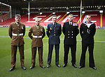 Members of the armed forces taking part in the remembrance commemoration during the Emirates FA Cup Round One match at Bramall Lane Stadium, Sheffield. Picture date: November 6th, 2016. Pic Simon Bellis/Sportimage
