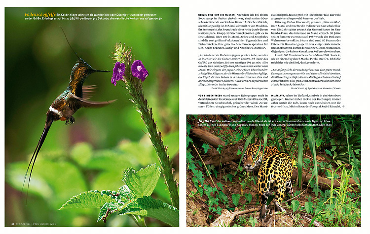 Magazine article about Manu National Park in southeastern Peru