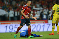 MEDELLIN-COLOMBIA- 8-04-2017.Acción de juego entre el  Independiente Medellín  y el  Atlético Bucaramanga durante encuentro  por la fecha 12 de la Liga Aguila I 2017 disputado en el estadio Atanasio Girardot./ Action game between Independiente Medellin and  Atletico Bucaramanga celebrates his goal against Independiente Medellin during match for the date 12 of the Aguila League I 2017 played at Atanasio Girardot stadium . Photo:VizzorImage / León Monsalve / Contribuidor
