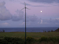 Wind Turbine at moonrise time on Kauai