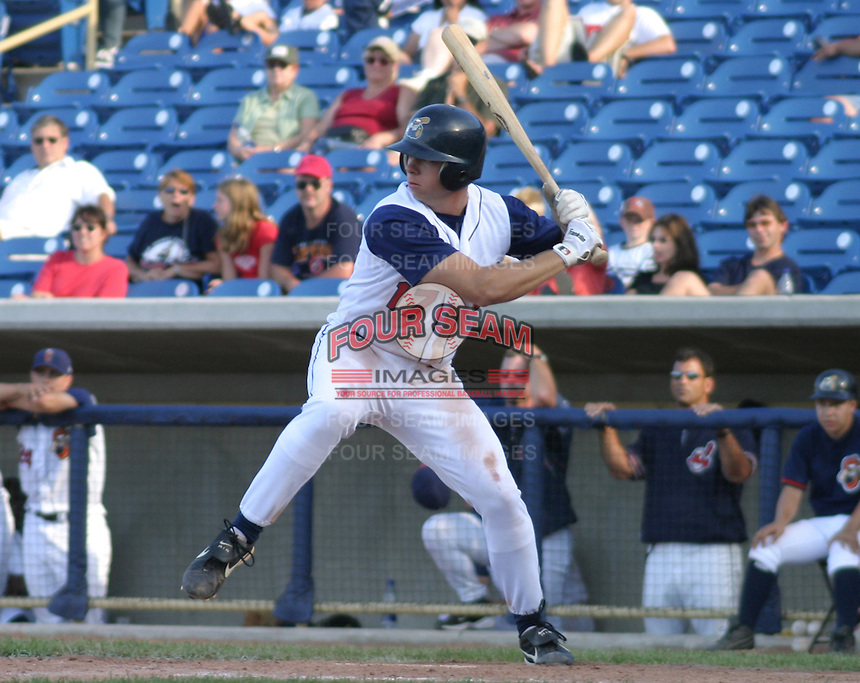 August 17, 2003:  Michael Aubrey of the Lake County Captains, Class-A affiliate of the Cleveland Indians, during a South Atlantic League game at Classic Park in Eastlake, OH.  Photo by:  Mike Janes/Four Seam Images