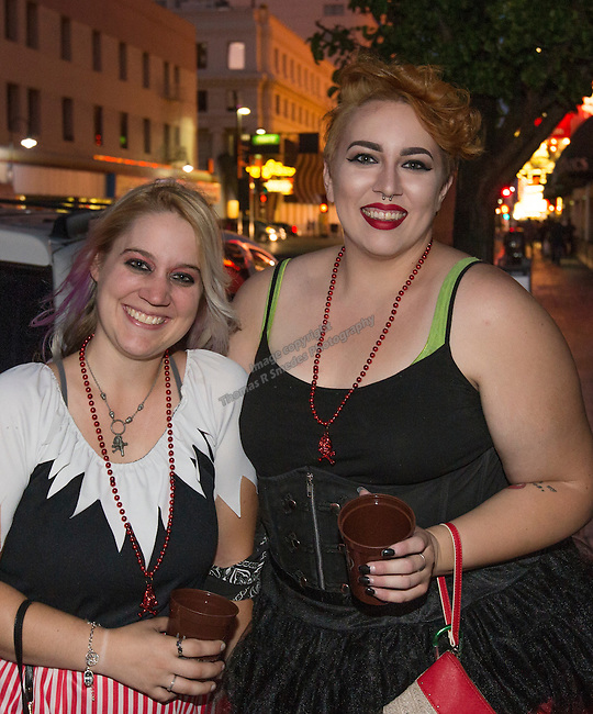 Amanda Gardner and Hailey Brubaker during the Pirate Crawl held in downtown Reno on Saturday night, August 13, 2016.
