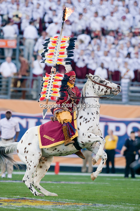 ORLANDO, FL - DECEMBER 27: The Florida State Seminoles mascot Chief Osceola rides his horse Renegade onto the field prior to the game against the Wisconsin Badgers during the Champs Sports Bowl on December 27, 2008 at the Citrus Bowl in Orlando, Florida. Florido State beat Wisconsin 42-13. (Photo by David Stluka)