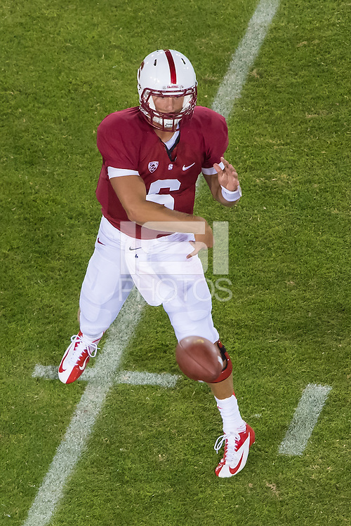 STANFORD, CA - AUGUST 31 2012: Josh Nunes during the Stanford Cardinal 20-17 win over San Jose State.