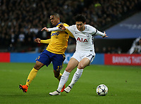 Tottenham Hotspur's Son Heung-Min and Douglas Costa of Juventus<br /> <br /> Photographer Rob Newell/CameraSport<br /> <br /> UEFA Champions League Round of 16 Second Leg - Tottenham Hotspur v Juventus - Wednesday 7th March 2018 - Wembley Stadium - London <br />  <br /> World Copyright &copy; 2017 CameraSport. All rights reserved. 43 Linden Ave. Countesthorpe. Leicester. England. LE8 5PG - Tel: +44 (0) 116 277 4147 - admin@camerasport.com - www.camerasport.com