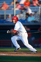 Auburn Doubledays second baseman Jake Jefferies (10) at bat during a game against the Williamsport Crosscutters on June 25, 2016 at Falcon Park in Auburn, New York.  Auburn defeated Williamsport 5-4.  (Mike Janes/Four Seam Images)