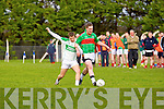 Paul Horgan of Beal races against Diarmaid Behan of Ballydonoghue in the Division 4/5 play off in Ballylongford GAA grounds last Sunday