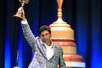 European Team Captain Jose Maria Olazabal (ESP) on stage at the Closing Ceremony after Sunday's Singles Matches of the 39th Ryder Cup at Medinah Country Club, Chicago, Illinois 30th September 2012 (Photo Colum Watts/www.golffile.ie)