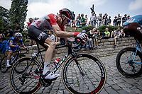 Tim Wellens (BEL/Lotto Soudal) up the infamous Kapelmuur. <br /> <br /> Binckbank Tour 2018 (UCI World Tour)<br /> Stage 7: Lac de l'eau d'heure (BE) - Geraardsbergen (BE) 212.7km