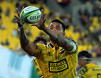 Vaea Fifita takes lineout ball during the Super Rugby match between the Hurricanes and Stormers at Westpac Stadium in Wellington, New Zealand on Saturday, 23 March 2019. Photo: Dave Lintott / lintottphoto.co.nz