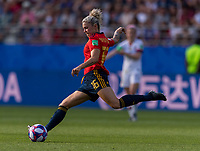 REIMS,  - JUNE 24: Mapi Leon #16 crosses the ball during a game between NT v Spain and  at Stade Auguste Delaune on June 24, 2019 in Reims, France.