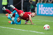 17th June 2017, St Petersburg, Russia; FIFA 2017 Confederations Cup football, Russia versus New Zealand; Group A - Saint Petersburg Stadium,  Russia's Aleksandr Burharov trips over New Zealand goalie Stefan Marinovic during the Confederations Cup Group A soccer match between Russia and New Zealand at the stadium in Saint Petersburg, Russia, 17 June 2017.