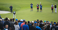 Justin Thomas (Team USA) sinks his putt on the 9th during Friday's Fourballs, at the Ryder Cup, Le Golf National, Îls-de-France, France. 28/09/2018.<br /> Picture David Lloyd / Golffile.ie<br /> <br /> All photo usage must carry mandatory copyright credit (© Golffile | David Lloyd)