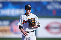 Oregon State Beavers relief pitcher Reid Sebby (16) delivers a pitch during an NCAA game against the New Mexico Lobos at Surprise Stadium on February 14, 2020 in Surprise, Arizona. (Zachary Lucy / Four Seam Images)