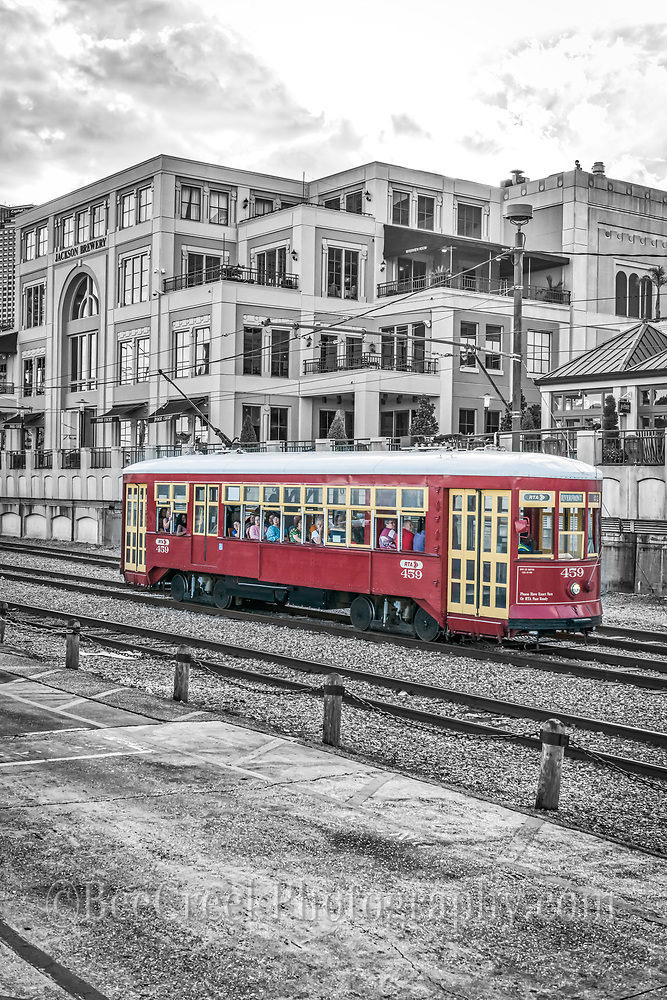 Took this image of the New Orleans red street car out side of the Jackson Brewery taking passenger to their destination in the city.