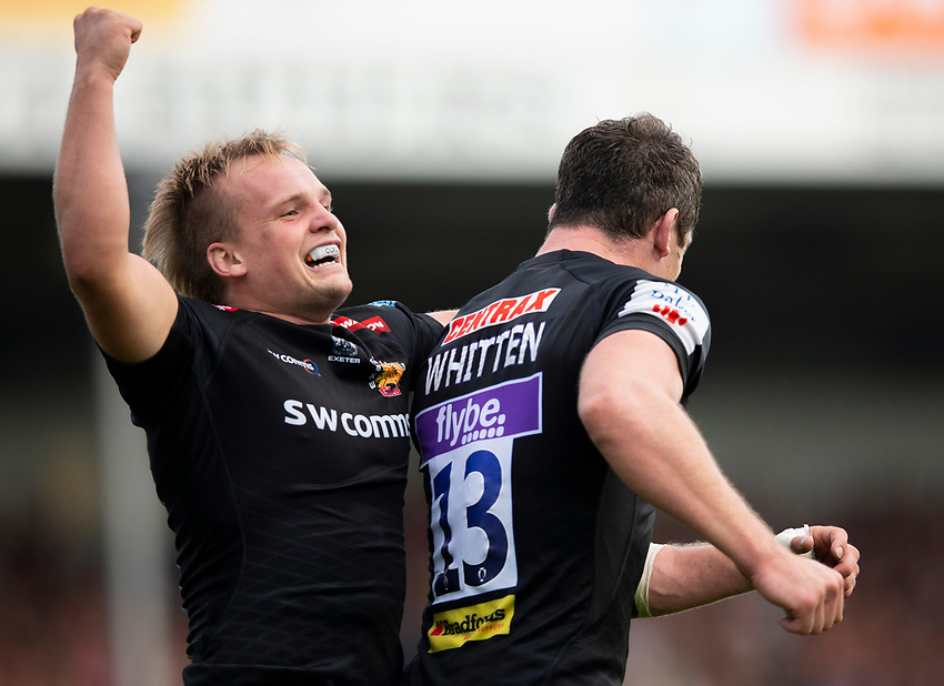 Exeter Chiefs' Stu Townsend celebrates after Exeter Chiefs' Ian Whitten scores his side's sixth try<br /> <br /> <br /> Photographer Bob Bradford/CameraSport<br /> <br /> Gallagher Premiership - Exeter Chiefs v Leicester Tigers - Saturday September 1st 2018 - Sandy Park - Exeter <br /> <br /> World Copyright © 2018 CameraSport. All rights reserved. 43 Linden Ave. Countesthorpe. Leicester. England. LE8 5PG - Tel: +44 (0) 116 277 4147 - admin@camerasport.com - www.camerasport.com