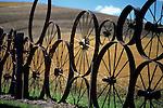 Farm fence made up of metal wheels Eastern Washington Union Town Washington State USA.