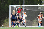 CHARLOTTE, NC - MARCH 25: Courage's Sabrina D'Angelo (CAN) (in red) catches the ball in traffic. The NWSL's North Carolina Courage played their first preseason game against the University of Tennessee Volunteers on March 25, 2017, at Queens University of Charlotte Sports Complex in Charlotte, NC. The Courage won the match 3-0.