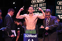 Tommy Broadbent on the scales during a Weigh In at the BT Studios, Queen Elizabeth Olympic Park on 12th July 2019