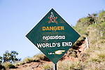 Sign warning of danger at World's End cliff at Horton Plains national park, Sri Lanka, Asia