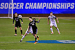 GREENSBORO, NC - DECEMBER 02: Gustav Ericsson #40 of North Park University heads the ball during the Division III Men's Soccer Championship game against Messiah College held at UNC Greensboro Soccer Stadium on December 2, 2017 in Greensboro, North Carolina. Messiah College defeated North Park University 2-1 to win the national title. (Photo by Grant Halverson/NCAA Photos via Getty Images)