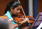 Alexandra Llamas-Cruz, 11, performs in the Carson City Symphony's Youth Strings Summer Program concert in Carson City, Nev., on Thursday, July 27, 2017. <br /> Photo by Cathleen Allison