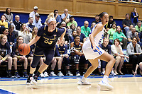 DURHAM, NC - JANUARY 16: Sam Brunelle #33 of Notre Dame University drives past Jade Williams #25 of Duke University during a game between Notre Dame and Duke at Cameron Indoor Stadium on January 16, 2020 in Durham, North Carolina.