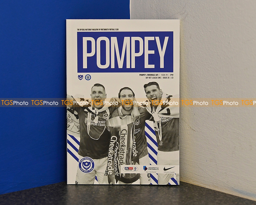 Lee Brown , Brett Pitman and Gareth Evans of Portsmouth on the front of the match day programme during Portsmouth vs Rochdale, Sky Bet EFL League 1 Football at Fratton Park on 13th April 2019