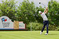 Zach Cabra (USA) watches his tee shot on 18 during round 2 of the Valero Texas Open, AT&amp;T Oaks Course, TPC San Antonio, San Antonio, Texas, USA. 4/21/2017.<br /> Picture: Golffile | Ken Murray<br /> <br /> <br /> All photo usage must carry mandatory copyright credit (&copy; Golffile | Ken Murray)