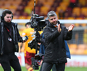 18th March 2018, Fir Park, Motherwell, Scotland; Scottish Premiership football, Motherwell versus Celtic;  Stephen Robinson applauds the Motherwell fans after the 0-0 draw