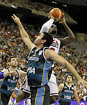 USA's LeBron James (r) and Argentina's Leonardo Gutierrez during friendly match.July 22,2012. (ALTERPHOTOS/Acero)