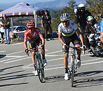 World Champion Alejandro Valverde (ESP) and race leader Red Jersey Primoz Roglic work together having caught Marc Soler (ESP) Movistar Team from the breakaway on the final climb during Stage 15 of La Vuelta 2019  running 154.4km from Tineo to Santuario del Acebo, Spain. 8th September 2019.<br /> Picture: Karlis | Cyclefile<br /> <br /> All photos usage must carry mandatory copyright credit (© Cyclefile | Karlis)