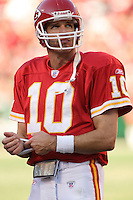 Chiefs quarterback Trent Green looks up at the scoreboard during a time out in the second half against the Oakland Raiders at Arrowhead Stadium in Kansas City, Missouri on November 19, 2006. The Chiefs won 17-13.