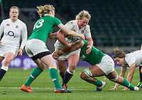 Izzy Noel-Smith tackled by Aine Donnelly and Sophie Spence, England Women v Ireland Women in a 6 Nations match at Twickenham Stadium, Whitton Road, Twickenham, England, on 27th February 2016
