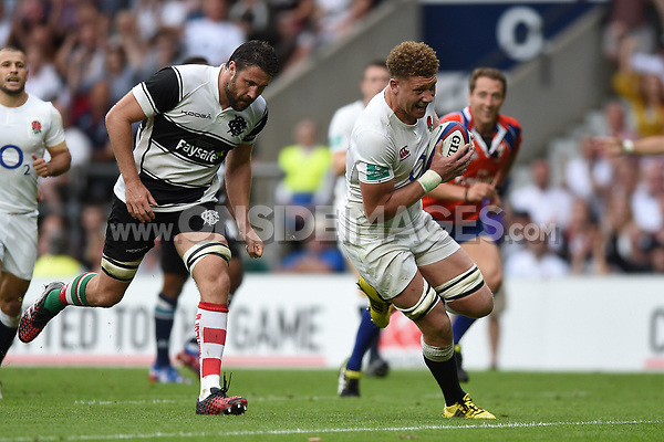 Nick Isiekwe of England runs in a second half try. Old Mutual Wealth Cup International match between England and the Barbarians on May 28, 2017 at Twickenham Stadium in London, England. Photo by: Patrick Khachfe / Onside Images
