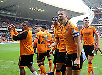 Wolverhampton Wanderers' Conor Coady celebrates at full time <br /> <br /> Photographer Ashley Crowden/CameraSport<br /> <br /> The EFL Sky Bet Championship - Wolverhampton Wanderers v Birmingham City - Sunday 15th April 2018 - Molineux - Wolverhampton<br /> <br /> World Copyright &copy; 2018 CameraSport. All rights reserved. 43 Linden Ave. Countesthorpe. Leicester. England. LE8 5PG - Tel: +44 (0) 116 277 4147 - admin@camerasport.com - www.camerasport.com