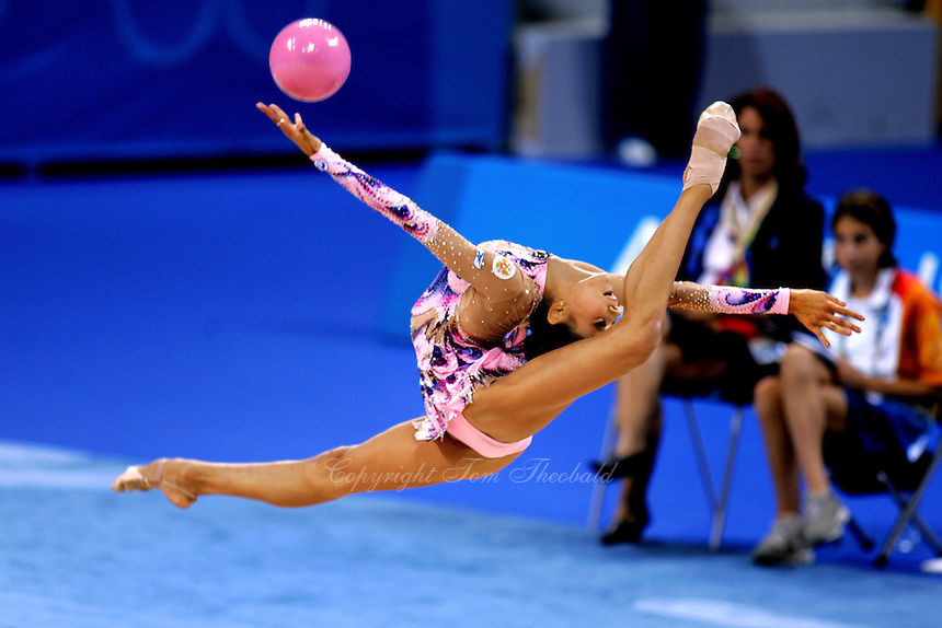 Irina Tchachina of Russia split leaps with ball during All-Around final at 2004 Athens Olympic Games on August 29, 2006 at Athens, Greece. Irina won silver in the All-Around final. (Photo by Tom Theobald)