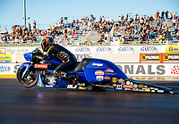 Jul 26, 2019; Sonoma, CA, USA; NHRA pro stock motorcycle rider Michael Ray during qualifying for the Sonoma Nationals at Sonoma Raceway. Mandatory Credit: Mark J. Rebilas-USA TODAY Sports
