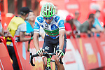Polka Dot Jersey wearer David Villella (ITA) Cannondale Drapac crosses the finish line at the end of Stage 19 of the 2017 La Vuelta, running 149.7km from Caso. Parque Natural de Redes to Gij&oacute;n, Spain. 8th September 2017.<br /> Picture: Unipublic/&copy;photogomezsport | Cyclefile<br /> <br /> <br /> All photos usage must carry mandatory copyright credit (&copy; Cyclefile | Unipublic/&copy;photogomezsport)