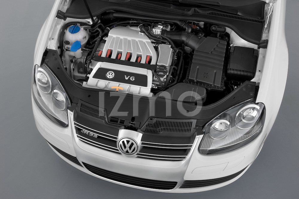 High angle engine detail of a 2008 Volkswagen r32