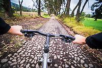 Person riding a bike at Zuleta, Imbabura, Ecuador, South America