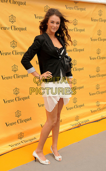 GUEST - David Walliams' ex-girlfriend.Veuve Cliquot Gold Cup Polo, Cowdray Park, England, UK, July 19th 2009..full length black jacket blazer hand on hip white shoes peep toe cream dress .CAP/CAS.©Bob Cass/Capital Pictures